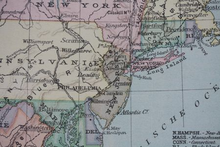 Vintage USA East Coast map photo