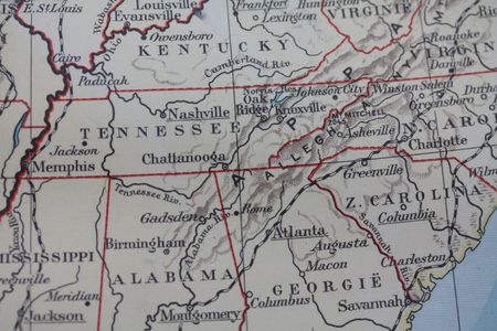 alabama: Vintage USA map: southern states