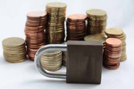 Financial crisis: the market is closed, euro coins Stock Photo - 5274320