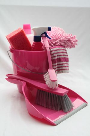sanitizing: bucket with cleaning equipment, dustpan and brush Stock Photo
