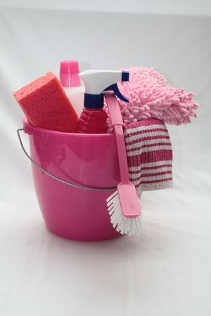 pink bucket with cleaning equipment photo