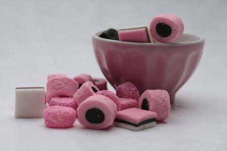 liquorice: allsorts liquorice in pink bowl