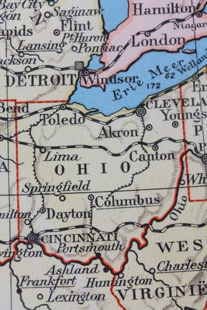 Vintage 1956 map: Ohio, Buckeye state photo