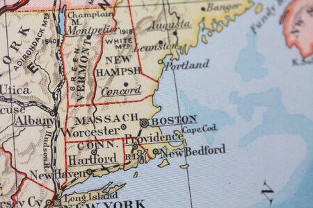 connecticut: Vintage 1956 map: Massachusetts, Connecticut Stock Photo