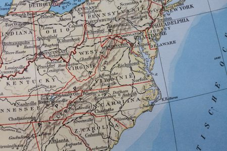 kentucky: Vintage 1956 map: US East Coast Stock Photo