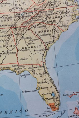 Vintage 1956 map: Florida, the sunshine state photo