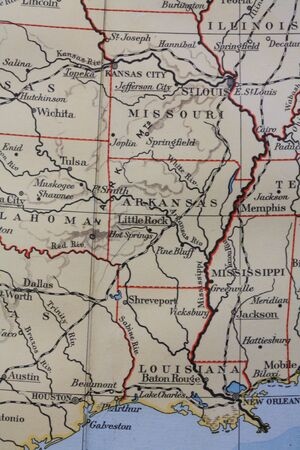 Vintage 1956 map: southern US states photo