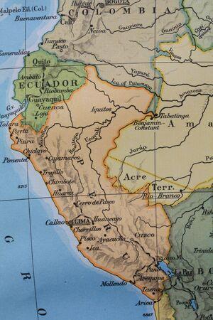 Vintage 1956 map: South America Peru Equador photo