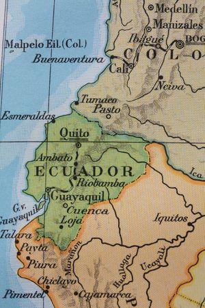 Vintage 1956 map: South America - Equador  photo
