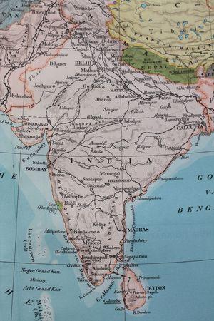 Vintage 1956 map: India photo