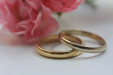 Wedding bands and pink roses Stock Photo - 5354303