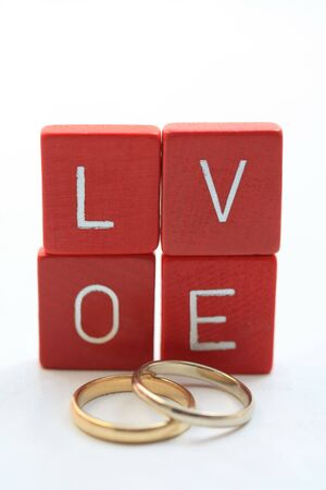 Love letters and wedding bands photo