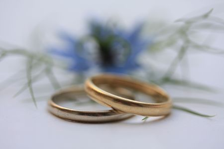 wedding bands: Wedding bands and blue love in a mist in the background Stock Photo