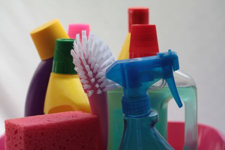 Detergent bottles in close up photo