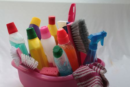 Detergents in bucket photo