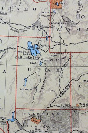 Vintage 1956 map: Utah, Beehive state photo