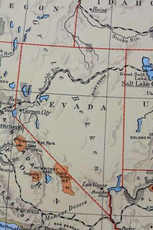 Vintage 1956 map: Nevada, the Silver state photo