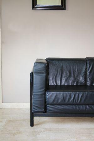 Interior design: Black leather sofa photo