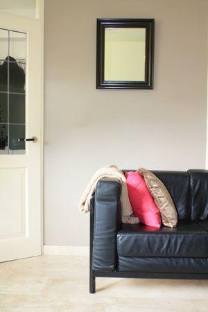Interior design: Black leather sofa, throw and pillows