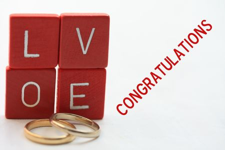 Print and post: Wedding congratulations card, rings and letters photo