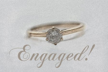 Print and post: engagement congratulations card, ring photo