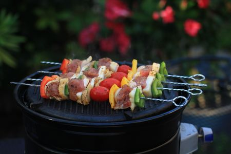 barbecue meat on the grill Stock Photo