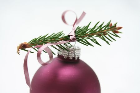 Christmas ornament on a christmas tree branch photo