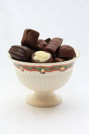 swiss ball: Bowl with christmas pattern and luxury chocolates