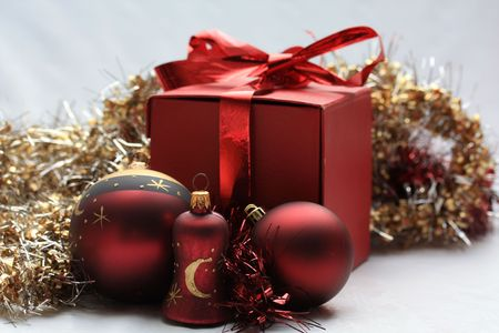 A christmas gift with decorations photo