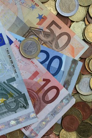 A set of vaus euro coins and banknotes  Stock Photo - 5627573
