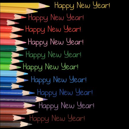 new years card, colorful pencils, just print and post