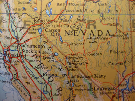 carson city: Map Nevada, the Silver State