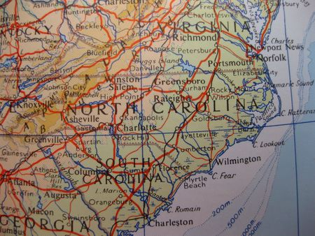 Map of North and South Carolina photo