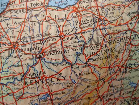 Map of Kentucky, Ohio and West Virginia photo