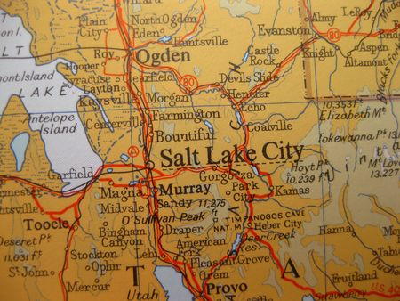salt lake city: Map of Salt Lake City, Utah
