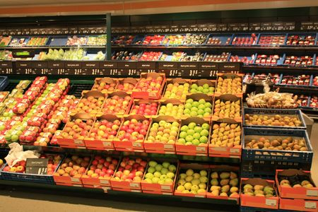 An overview of a grocery store interior Stock Photo