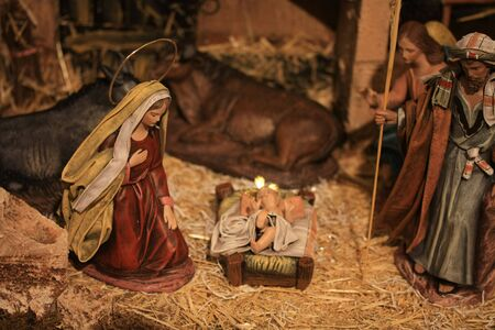 Nativity scene, virgin Mary and baby Jesus in the crib photo