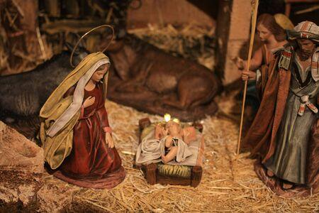 Nativity scene, virgin Mary and baby Jesus in the crib Stock Photo