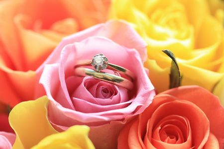 Bridal set in the middle of a mixed color rose bouquet Stock Photo - 6141649