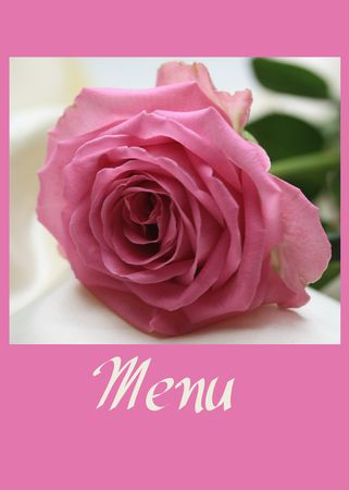 Pink rose menu card, perfect for a wedding dinner photo
