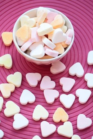 A bowl with heartshaped valentine candies