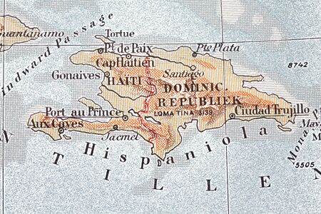 starvation: DOWNLOAD WILL BE DONATED! A vintage map of the island Haiti  Stock Photo