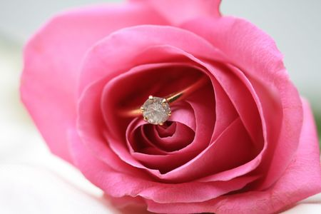 Solitaire diamond engagement ring in a pink rose photo