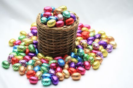 A wicker basket with chocolate easter eggs photo