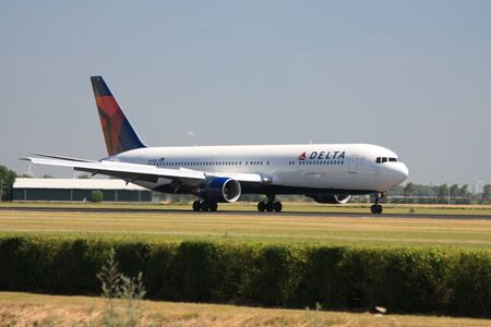 landed: July 19th 2010: Delta Air Lines Boeing 767-300ER, just landed at Amsterdam Airport    Editorial