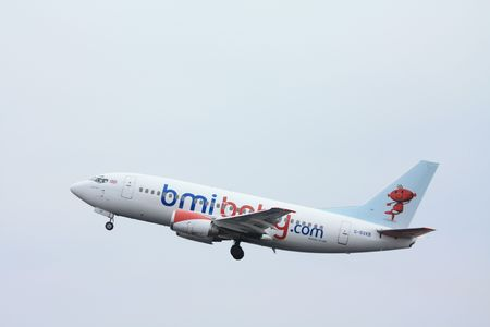 bmi: february 14th 2010, G-BVKB - bmi British Midland - Boeing 737-500 taking off from Amsterdam Editorial
