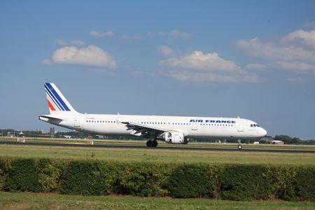 polderbaan: 30-07-2010 Amsterdam Airport Schiphol, Air France Airbus A321-212. F-GTAN landed on Polderbaan Editorial