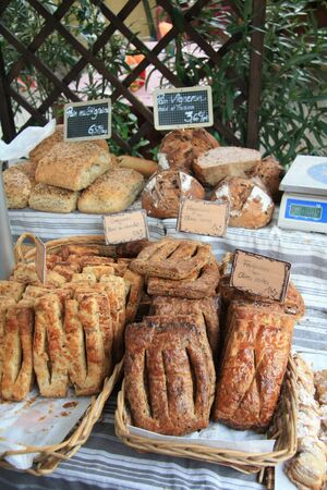 Traditional French bread on a local market in Bédoin, France photo