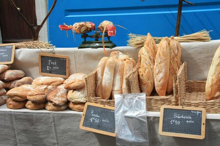 french loaf: Traditional French bread on a local market in B�doin, France
