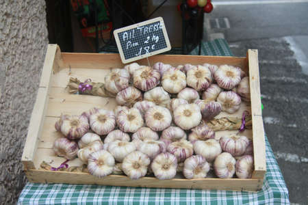 A group of garlic cloves on a local market in Bedoin, France